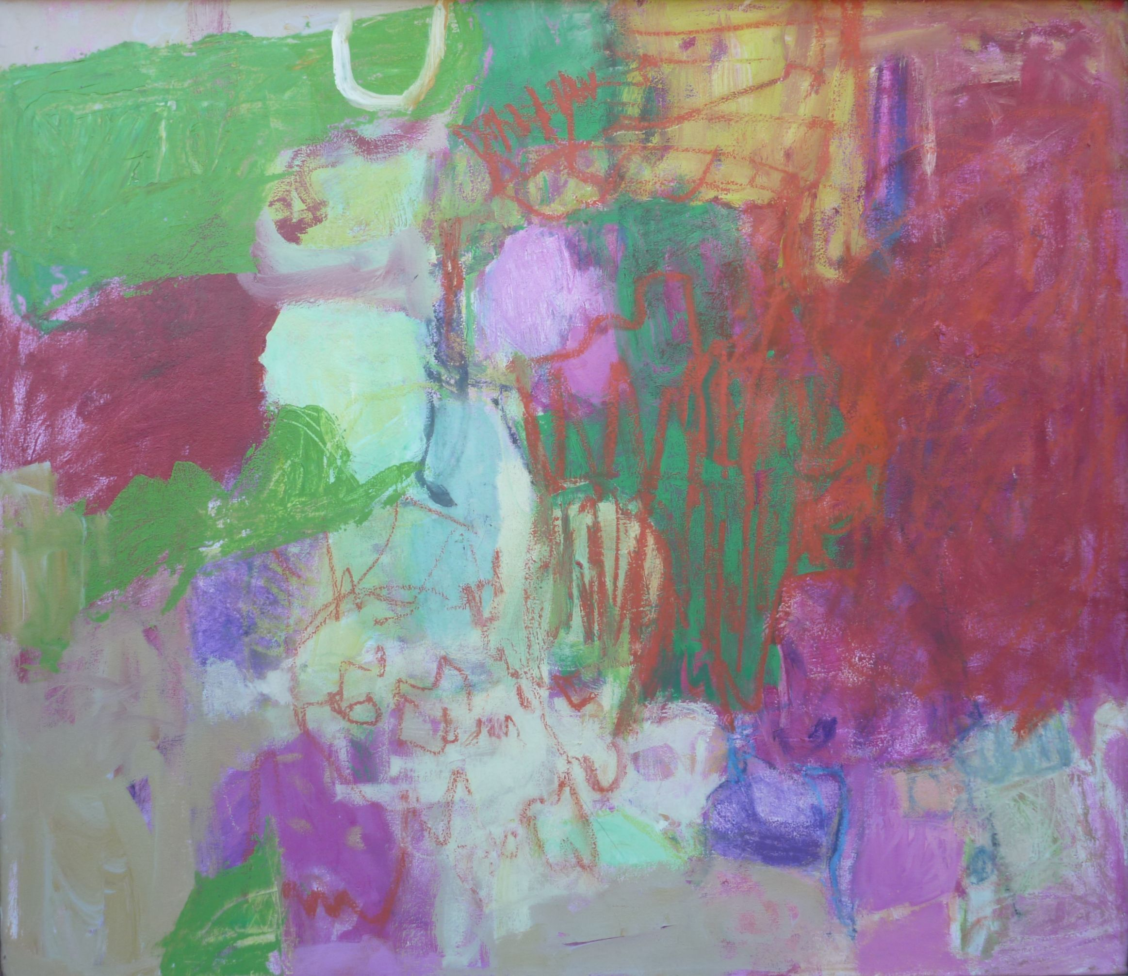 fumiko kashiwagi no title 30x26 acrylic oil pastel on canvas