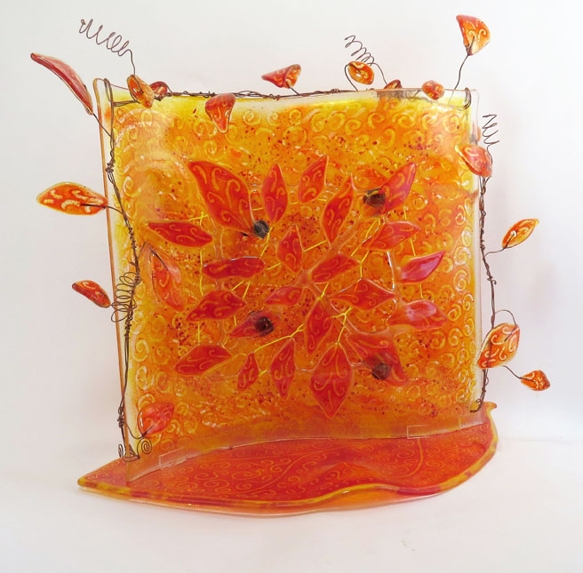 ReneeRadenberg_1_Fallen Leaves sculpture_fused glass_14hx18wx8d_2016