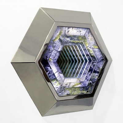 Kirsten Kay Thoen, Geo-Portal, 2015, Nickel plated steel, photo-transparency films, mirrored glass, plexiglass, & LEDs