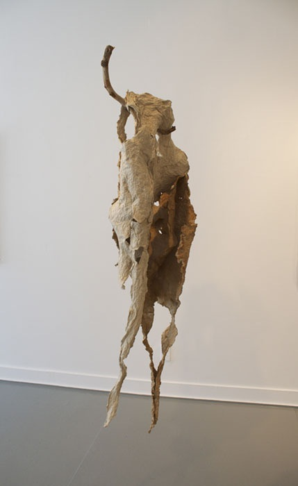 Meg Bloom image#2 go in and out the window sculpture handmade paper, pigment, wood app 5.5'x4'x2' 2012