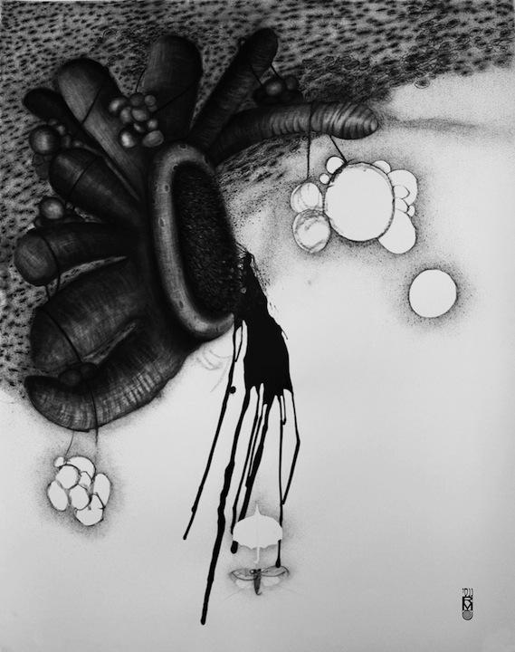 Nancy Raen-Mandez Trickle Down Drawing 50x38 2014